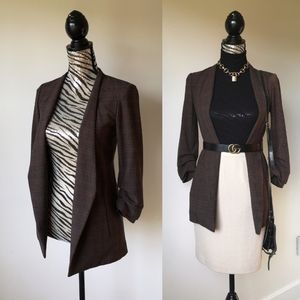 Babaton Power Blazer in brown plaid